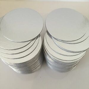 25-x-4-034-inch-ROUND-SILVER-THIN-CUT-EDGE-cake-boards-cards-sugarcraft-CULPITT