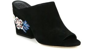124a143c9a642e New Tory Burch Womens Size 8.5M Embroidered Suede Wedge Mules Black ...