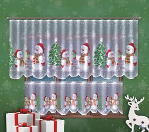 White-Cafe-Net-Curtain-Christmas-Snowman-Lace-24-034-drop-Price-Per-Metre-Decor