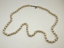 """vintage Miriam Haskell signed glass Baroque faux pearl necklace 30"""""""