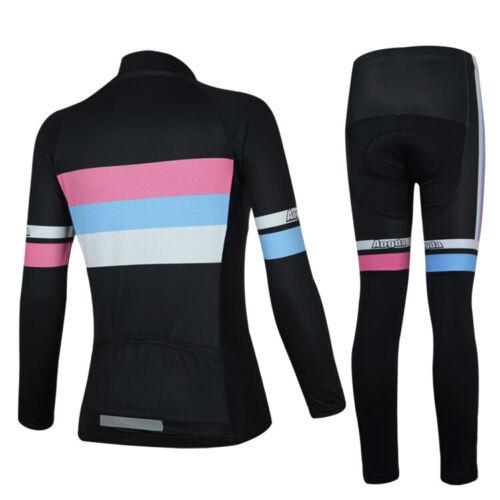 Damen Radsport Bekleidung Set Langarm Fahrradshirt Trikot Radhose Gepolsterte