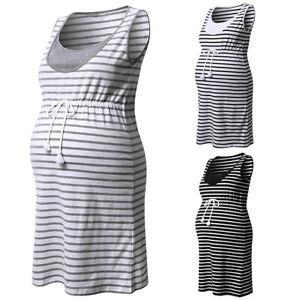 c713e3e1d4634 Image is loading Summer-Maternity-Midi-Dress-Striped-Sleeveless-Pregnant- Women-