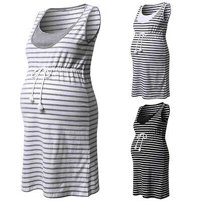 6dd55f05ff30f Details about Summer Maternity Midi Dress Striped Sleeveless Pregnant Women  Pregnancy Dresses