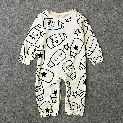 Toddler Newborn Baby Kids Girl Boy Bottle Warm Romper Jumpsuit Bodysuit Outfits