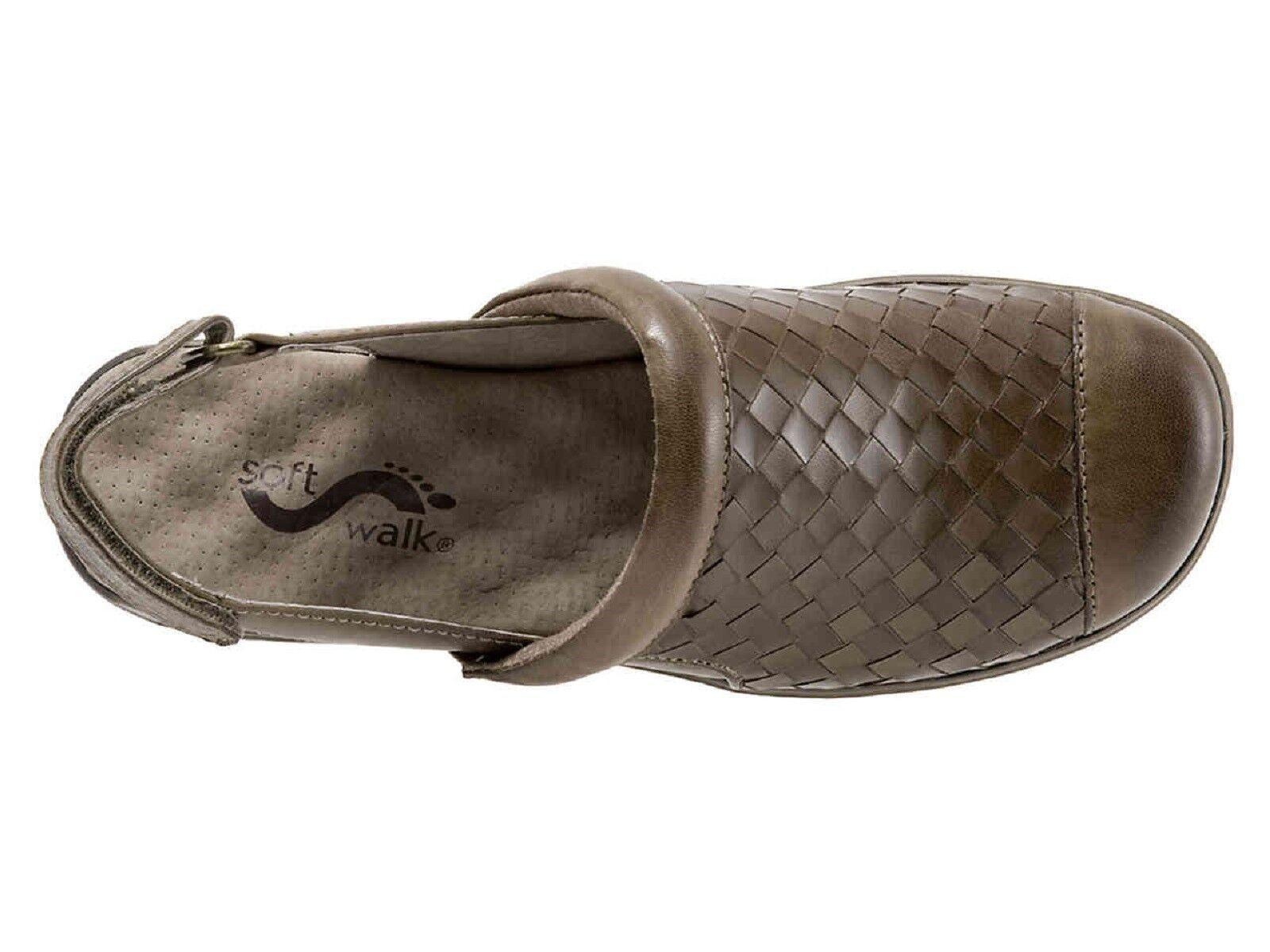 SOFTWALK  'SALINA WOVEN' Slingback Leder Leder Slingback Sandale-STONE   Sz. 9  NARROW  NIB fadbcb