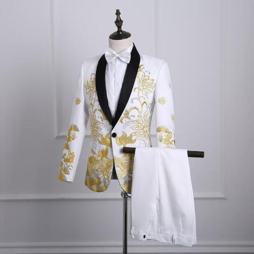 Mens Suit Embroidered Wedding One Button Coats Pants Tie Chinese Style Blazer T9