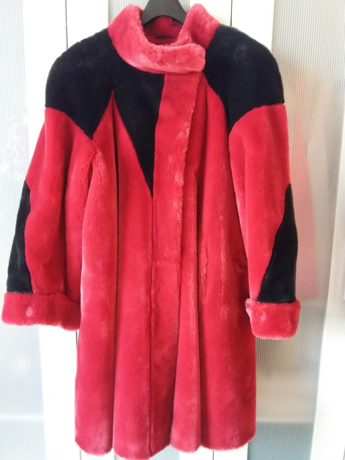 Damen mantel 40 42, rot schwarz, Kunstpelz,  sehr hochwertig