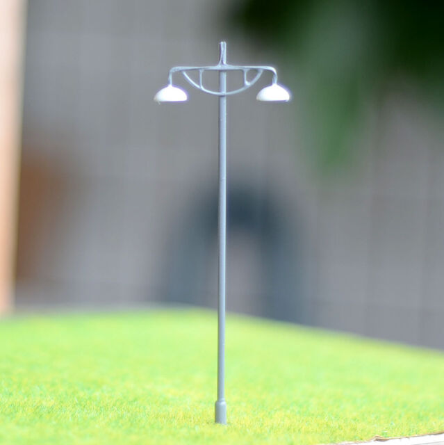 10 pcs HO/OO Model Lamppost Metal Street Light warm white LED Made Lamp #614