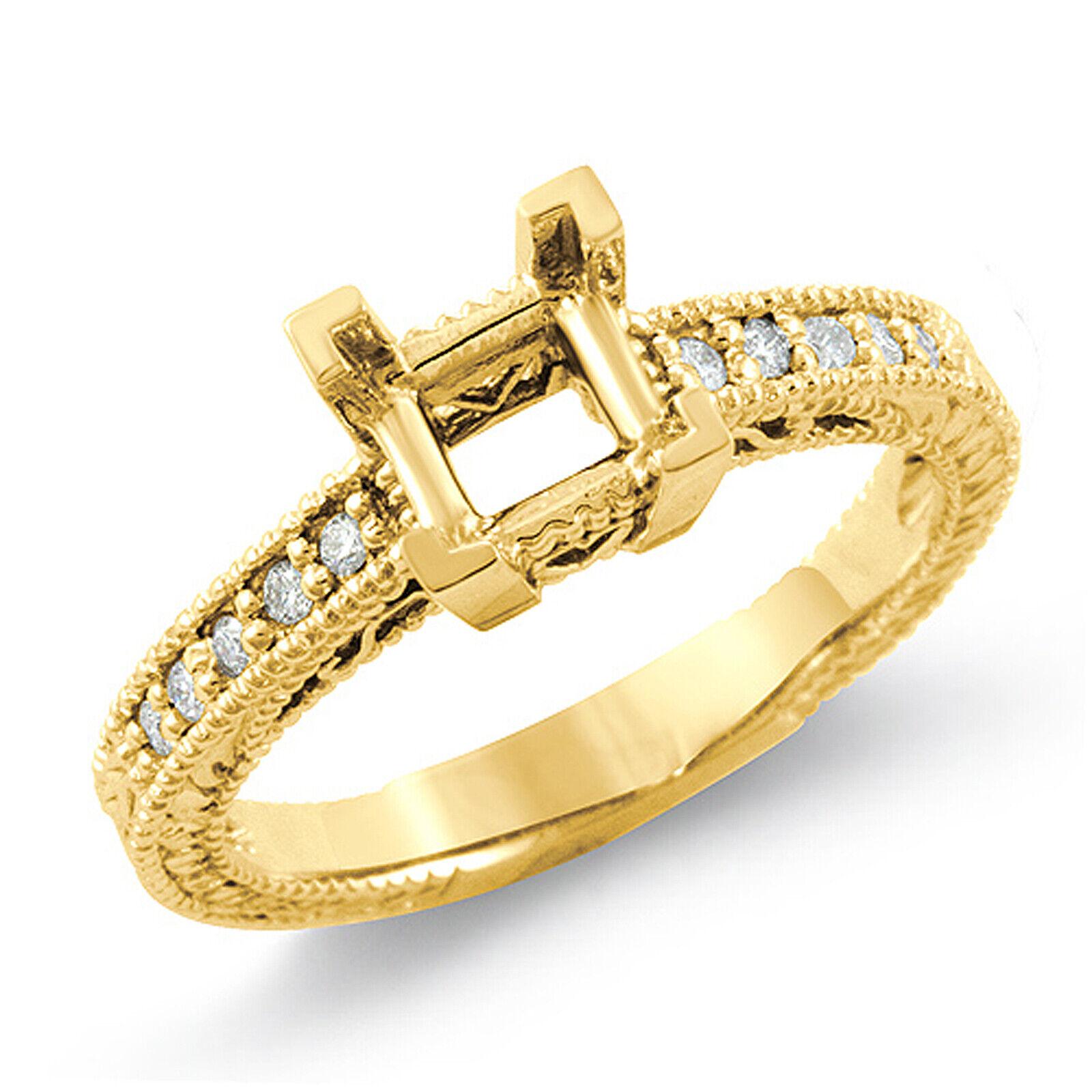 0.15 Ct Round Princess Setting Diamond G VS2 Engagement Ring 14k gold Yellow