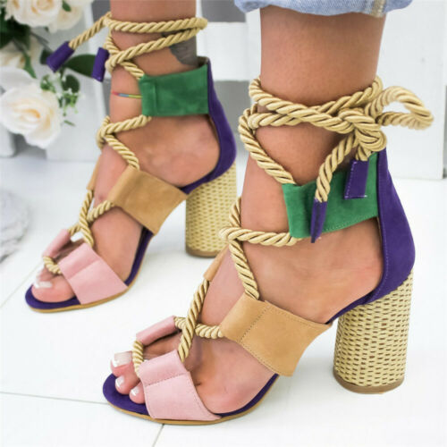 Woman Sandals Ankle Strap Cross-Strap High Heels Bandage Fashion color matching