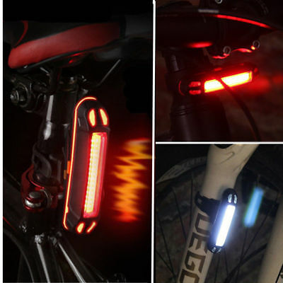 USB Rechargeable Bicycle Tail Light LED E bike Cycling Front Rear Lamp Safety
