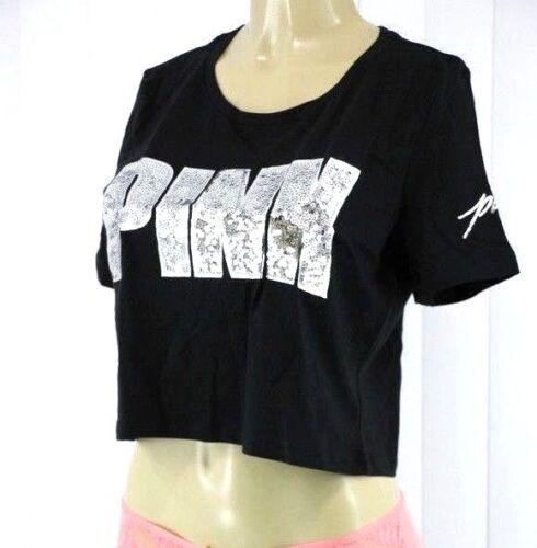 Victoria/'s Secret PINK SEQUIN GRAPHIC SHORT SLEEVE CROP SHIRT SIZE S NWT B257
