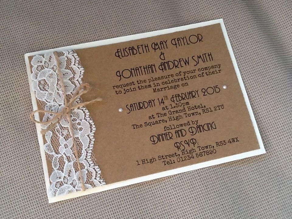 50 Handmade Personalised Vintage Lace Twine Rustic Kraft Wedding Invitations