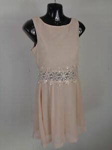 WOMENS-AX-PARIS-NUDE-FLORAL-EMBROIDERY-LIGHTWEIGHT-DRESS-UK-SIZE-10