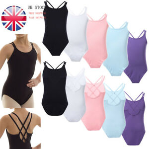2d0c2113f942 UK! Girls Gymnastics Ballet Sleeveless Leotards Dancewear Cross ...