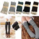 Women's Crochet Lace Knee High Trim Stockings Boot Socks Cotton Knit Leg Warmers
