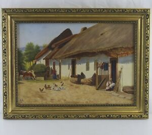 Antique-Oil-Painting-Farm-Chickens-in-stucco-frames-1933-monogrammiert-S-a