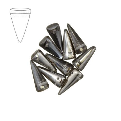 Picos De Cristal Checo Cuentas De Cristal Cromado 7mm X 17mm Pack de 10 M40//4