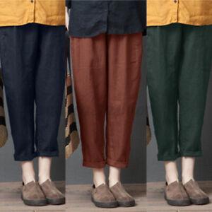 ZANZEA-Femme-Pantalon-Casual-en-vrac-100-coton-Couleur-Unie-Taille-elastique