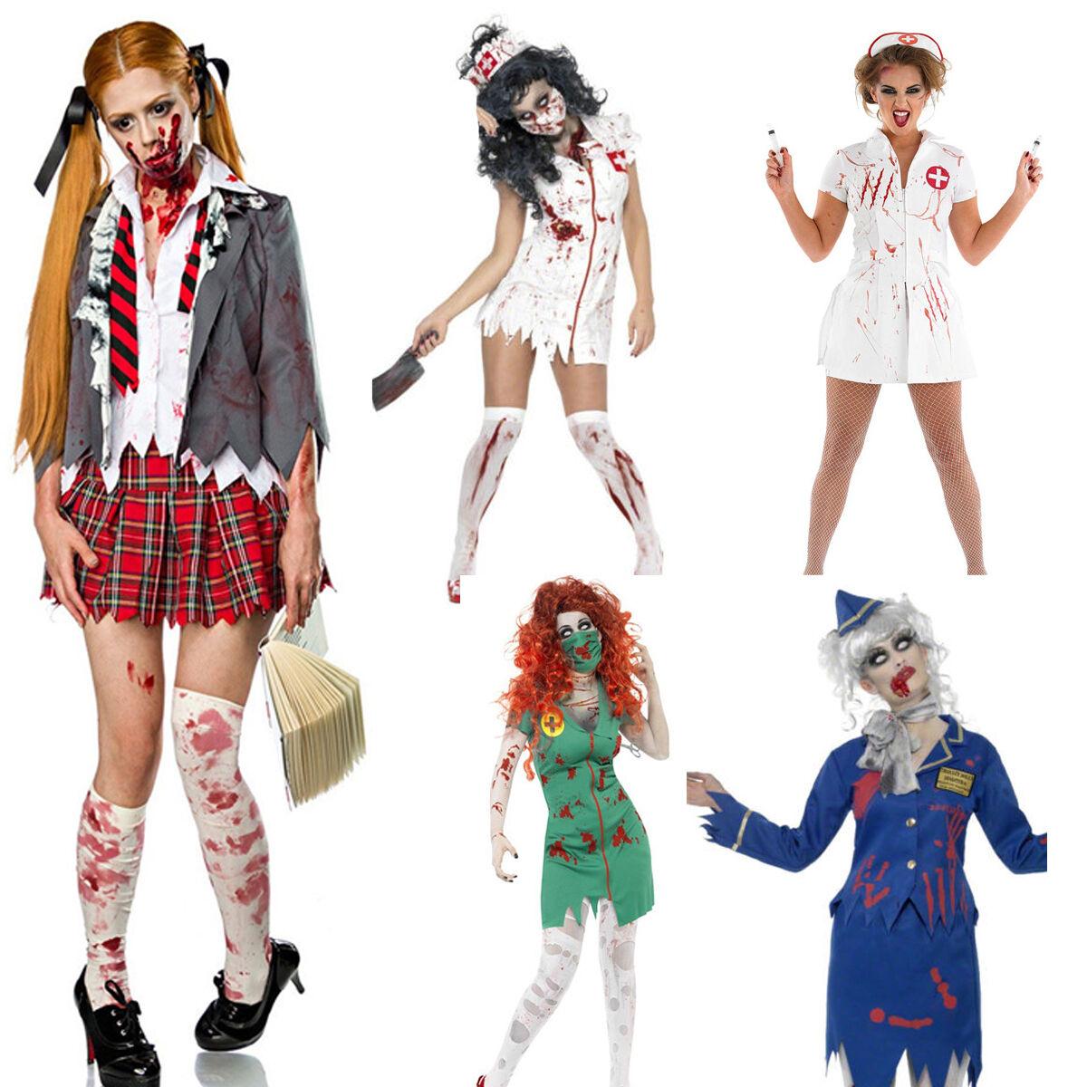 Womens Ghost Zombie Costume Stewdardess Nurse Student Walking Dead Fancy Dress