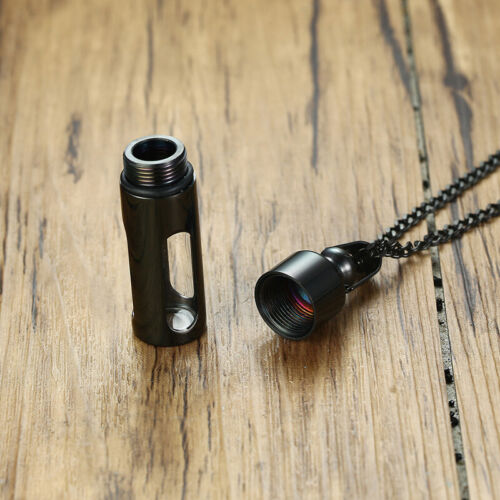 Men Pendant Necklace Ash Urn Cremation Memorial Glass Container Stainless Steel