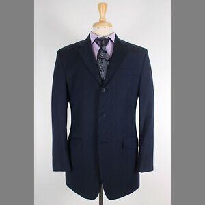 Calvin Klein 38R Navy Solid Wool Three Button Mens Sport Coat Blazer Jacket