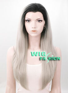 24 Heat Resistant Long Straight Black Mixed Ash Grey Ombre Lace