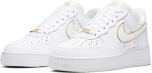 Details about Nike Air force 1 07 Low AO2132 102 White White Metallic Gold Womens 5 11