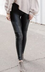 0793160d1f5f85 NEW SPANX Black FAUX LEATHER MOTO Leggings, XL (fits like a size ...