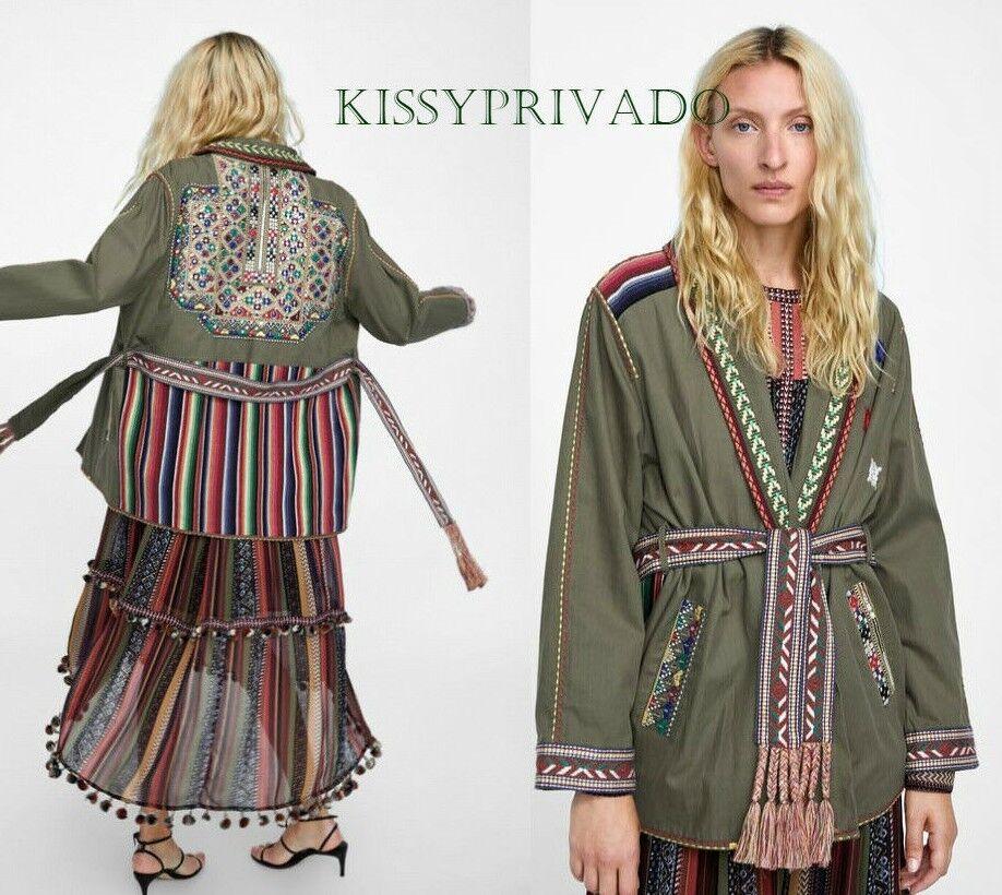efbaebed ZARA Green Parka Coat with Multicoloured Embroidery M BNWT Khaki ...