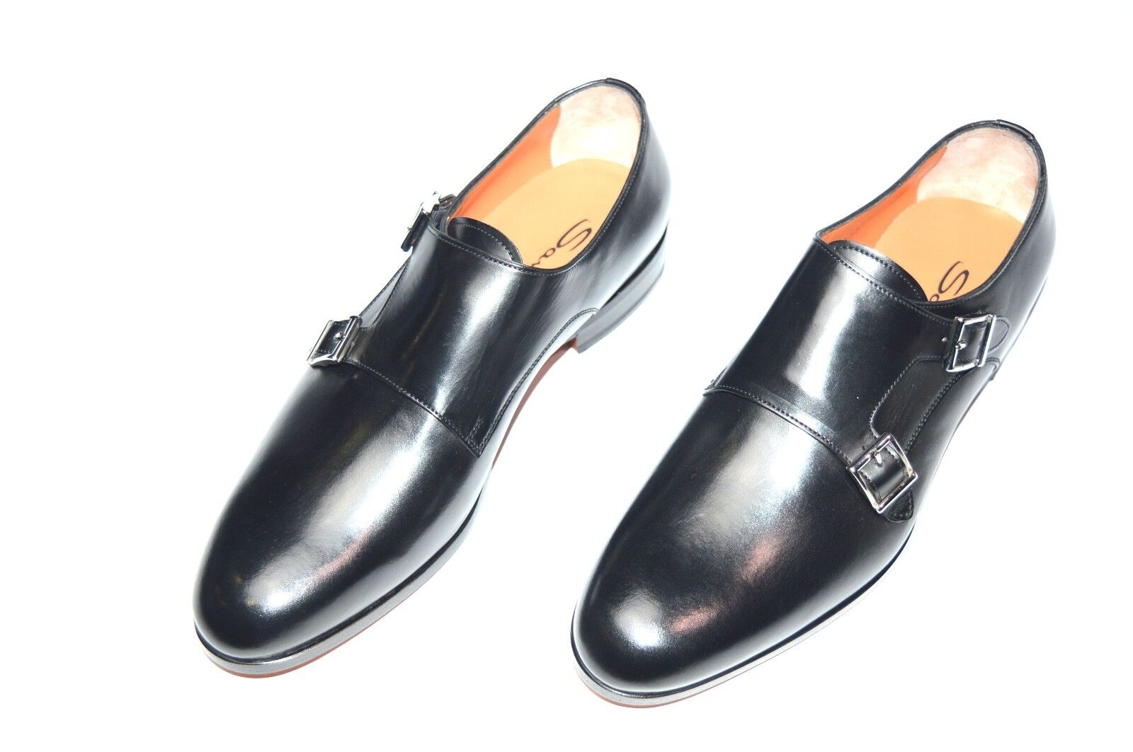 NEW SANTONI Dress Pelle Shoes Monk Strap SIZE Eu 44 Uk 10 Us 11 (23R)