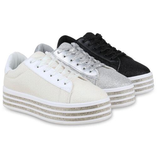 Damen Plateau Sneaker Glitzer Schnürer Strass Freizeit Turnschuhe 830023 Schuhe