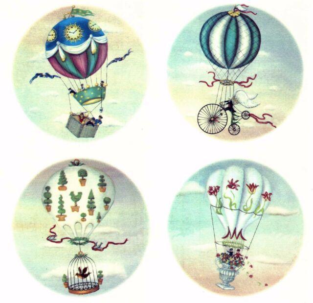 Hot Air Balloon Sky Background Select-A-Size Waterslide Ceramic Decals Tx
