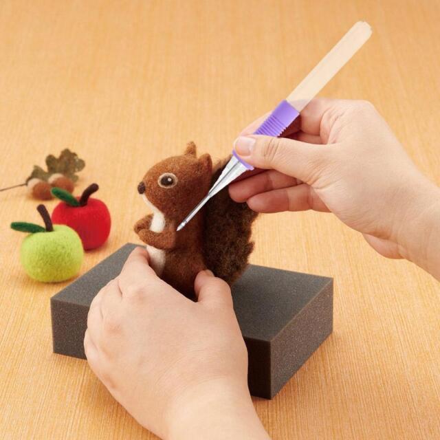 Needle Felting Handle Clover with 2Needles Wool Felt Tool Applique DIY Craft Kit