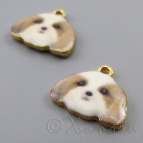 Shih Tzu Puppy Dog Charms 16mm Gold Plated Charms C2188 - 2, 5 Or 10PCs