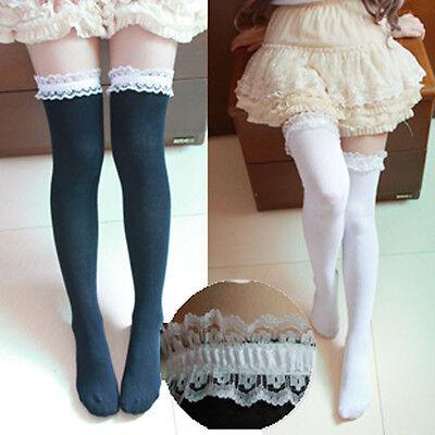 Women Girl Cute Knit Lace Lolita Stocking Thighhigh Sock Cosplay Dance