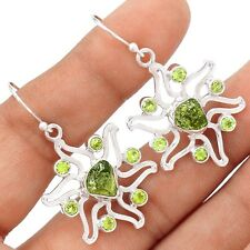 Genuine Czech - Moldavite Sun Sterling Silver Earrings Jewelry SE113618