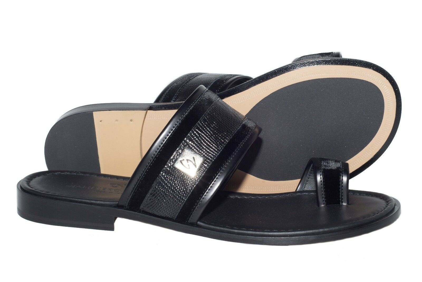 Giampieronicola 5437 italiano para Pus-en-toe hombre Negro Pus-en-toe para sandalias de lagarto Grabado 79fde4