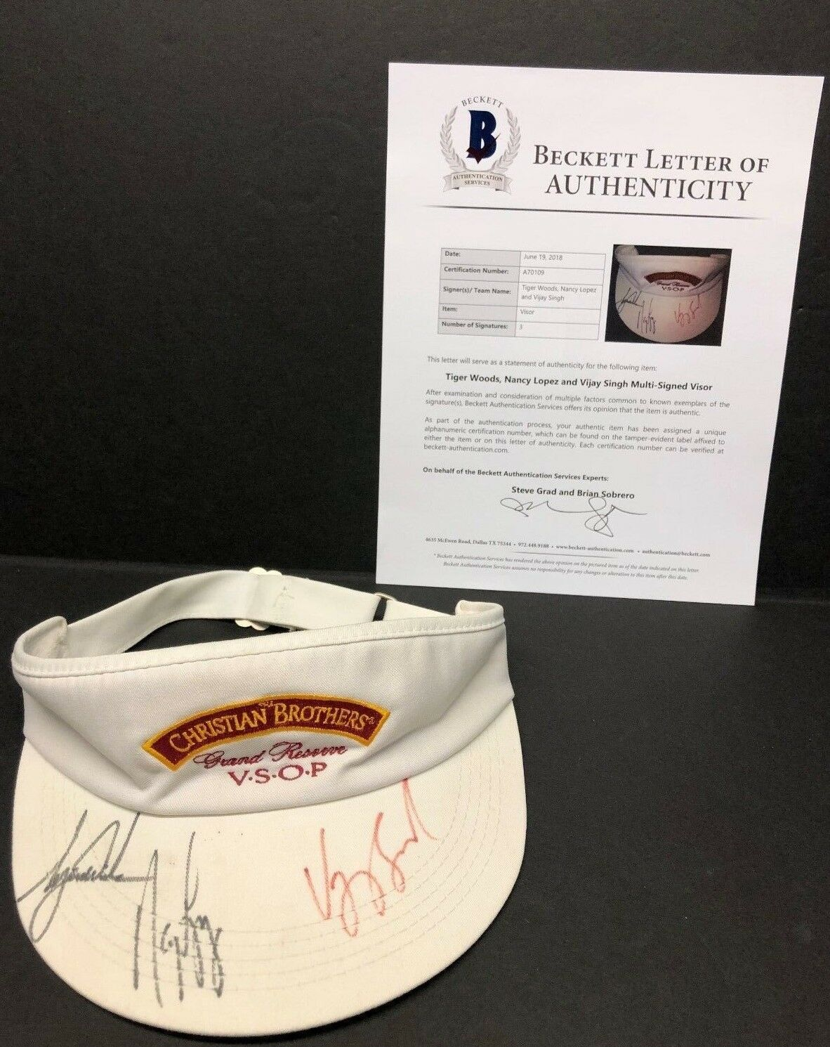 Tiger Woods Nancy Lopez Vijay Singh Signed Christian Brothers VSOP Visor Beckett