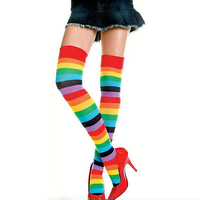 Trendy Women Rainbow Brite Thigh High Striped Socks Cotton Blend Hold-ups