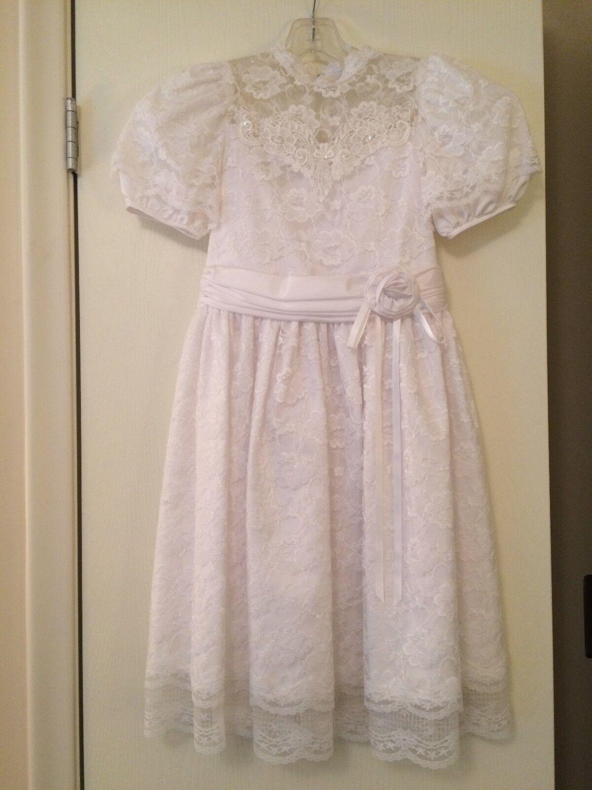 Dorissa International Nicole White Dress Girls 8 First Communion Wedding Formal