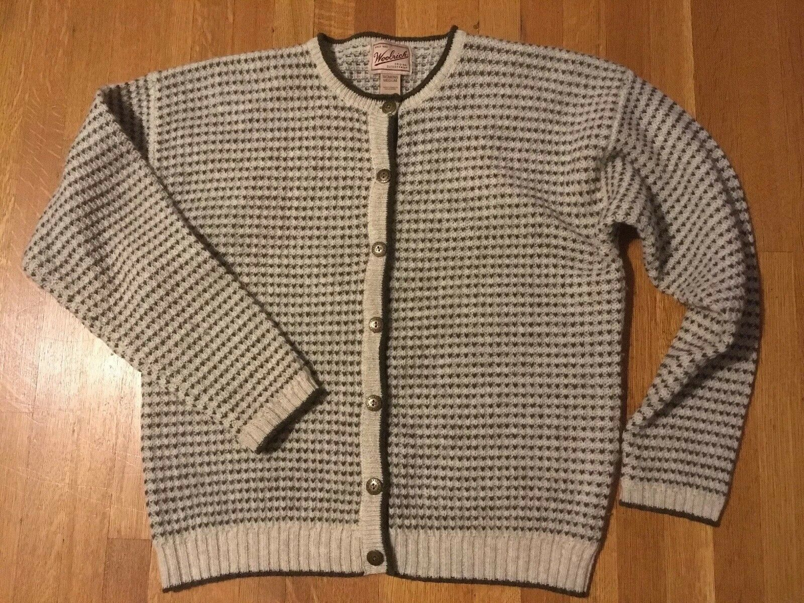 Woolrich 100% Wool Cardigan Sweater Women's Medium Button Up Cream w  Print