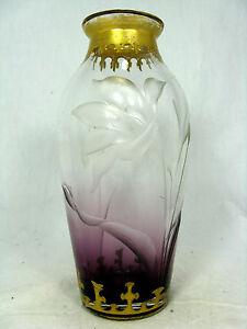 Schoene-Jugendstil-Art-Nouveau-Glas-Vase-Graeflich-Harrach-sche-Glasfabrik-21-cm