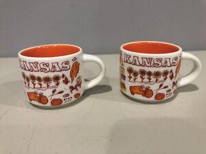 2x Starbucks Been There Series Kansas 2oz Mini Mugs, Preowned, Free Shipping.