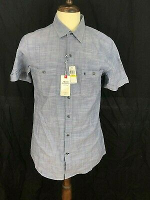 IZOD MEN/'S Saltwater Dockside Chambray Button Front Short Sleeve Shirt  NWT
