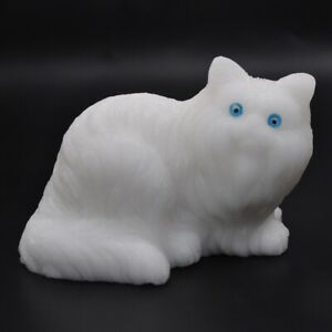 Cat-Statue-White-Jade-Healing-Crystal-Natural-Gemstone-Carved-Art-Ornament-Decor