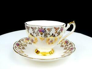 "QUEEN ANNE ENGLAND #5483 ROSE SWAGS GILT FLORAL 2 3/4"" CUP & SAUCER"