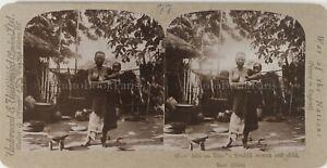 AFRIQUE-NOIRE-Colonialisme-Femme-Swahili-et-Enfant-Photo-Stereo-Vintage