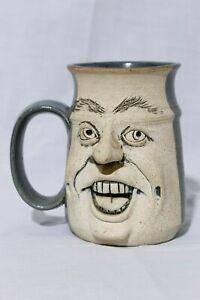 Hand-Thrown-Folk-Art-Ugly-Face-Mug-Jug-Pottery-Artist-Signed