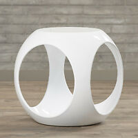 Modern White End Table Sofa Side Fiberglass Resin Living Room Decor Stand Unique
